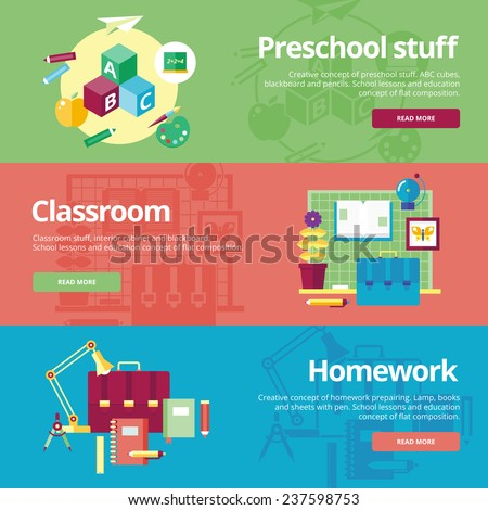 Set of flat design concepts for preschool, classroom and homework. Concepts for web banners and print materials. - stock vector