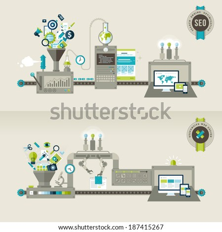 Set of flat design concepts for responsive web design and SEO. Concepts for web banners and printed materials.    - stock vector