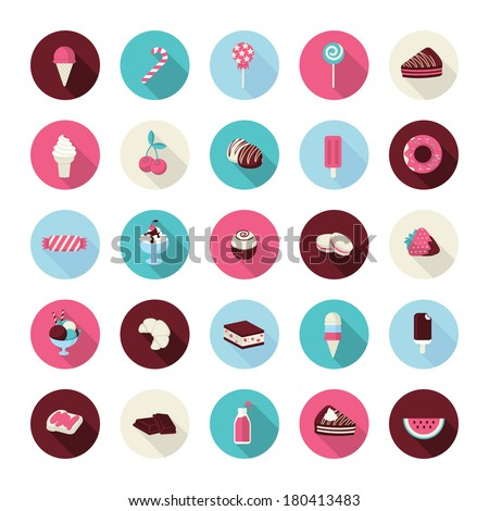 Set of flat design dessert icons. Icons of cakes, pastry, sweet bakery, cupcake, ice cream, fruits, candies, chocolate and lollipops for restaurants, cafes, cake manufacturer, online shop, events. - stock vector