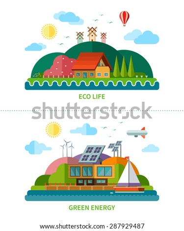 Set of flat design ecology backgrounds with icons of nature, environment, green energy and eco life. Eco house, windmill, solar panels, air balloon, sailboat. Vector illustration Isolated on white - stock vector