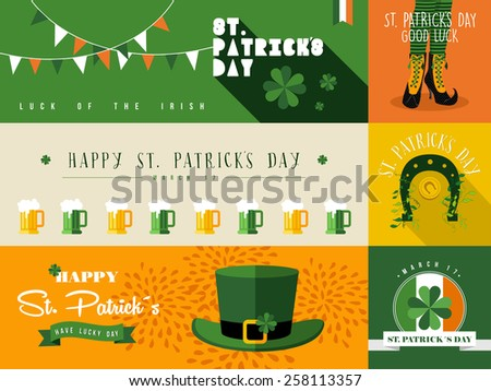 Set of flat design elements and banner for St Patricks day. Ideal for greeting card, poster and web template. EPS10 vector file organized in layers for easy editing. - stock vector
