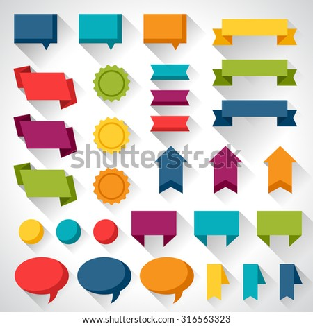 Set of flat design elements banners and tags. - stock vector