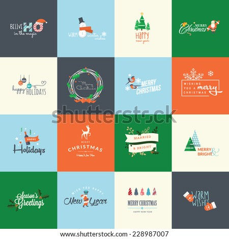Set of flat design elements for Christmas and New Year - stock vector