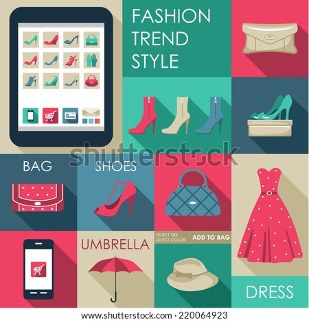 Set of flat design fashion icon for web and mobile phone services and apps. Online Shop. Vector illustration  - stock vector