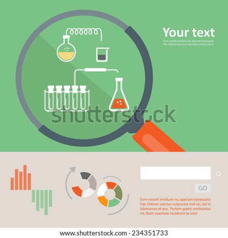 Set of flat design icon for experiment  - stock vector