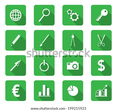 Set of 16 flat design icon on rectangle button - stock vector