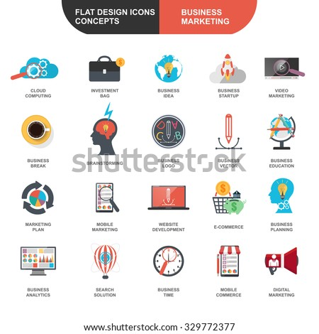 Set of flat design icons concept for marketing and strategy analysis, e-commerce, global business processes, seo analytics, financial research data for graphic and web designers - stock vector
