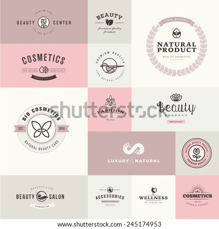 Set of flat design icons for beauty and cosmetics - stock vector