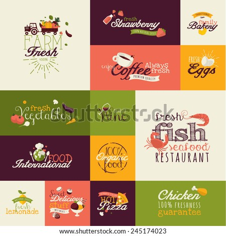 Set of flat design icons for food and drink - stock vector