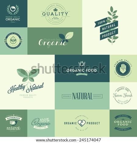 Set of flat design icons for natural organic products - stock vector