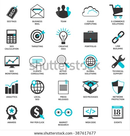 Set of flat design icons for Seo and Development, isolated on white - stock vector