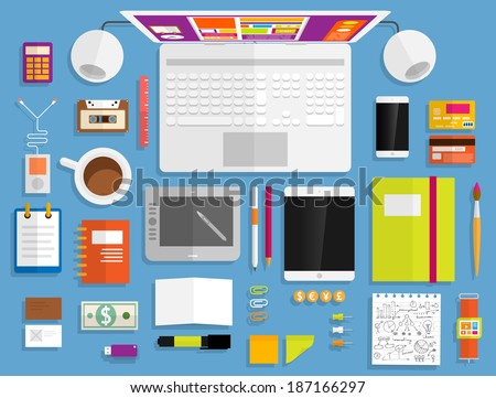 Set of Flat Design Icons. Mobile Phones, Tablet PC, Marketing Technologies, Mobile Apps, Email, Video Services and Money Management. Concept Icons for Web Site Design. Digital Art and Gadgets. - stock vector