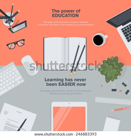 Set of flat design illustration concept for education. Concepts for web banners and promotional materials.   - stock vector