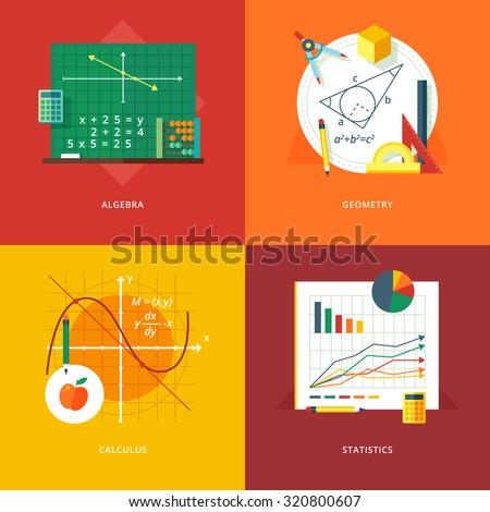 Set of flat design illustration concepts for algebra, geometry, calculus, statistics.  Education and knowledge ideas. Mathematic science.  Concepts for web banner and promotional material.  - stock vector