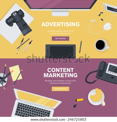 Set of flat design illustration concepts for business and marketing. Concepts for web banners and promotional materials. - stock vector