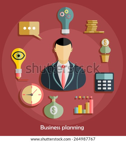 Set of flat design illustration concepts for business, finance,  analysis, strategy and planning, startup - stock vector