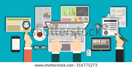 Set of flat design illustration concepts for business, finance, consulting,  Concepts for web banner and printed materials. - stock vector