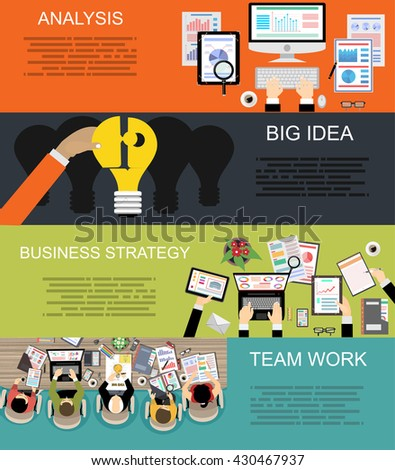 Set of flat design illustration concepts for business, finance, consulting, management, human resources, career, employment agency, staff training,money, technology,startup,creative. - stock vector