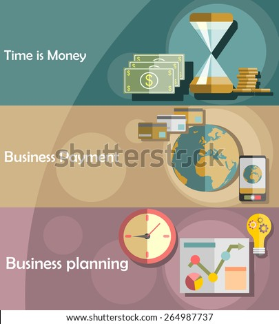 Set of flat design illustration concepts for business, finance, consulting, time is money, analysis, strategy and planning, business payment. - stock vector