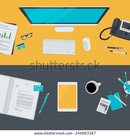Set of flat design illustration concepts for business, finance, e-commerce. Concepts for web banners and promotional materials.    - stock vector