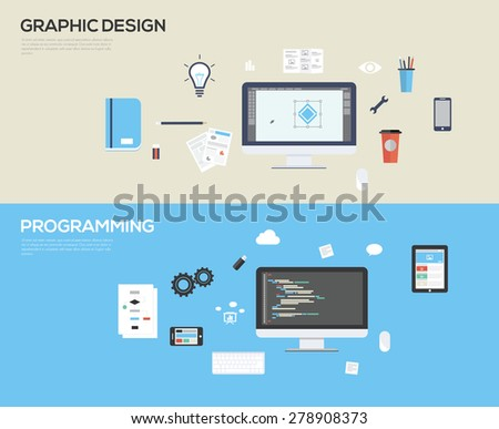 Set of flat design illustration concepts for web design development and graphic design - stock vector