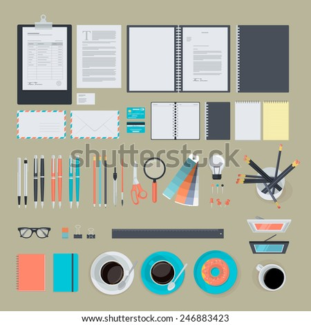 Set of flat design items for business, finance, marketing, graphic design development, project management. Icons for website design, print material, infographics, web and mobile services and apps. - stock vector