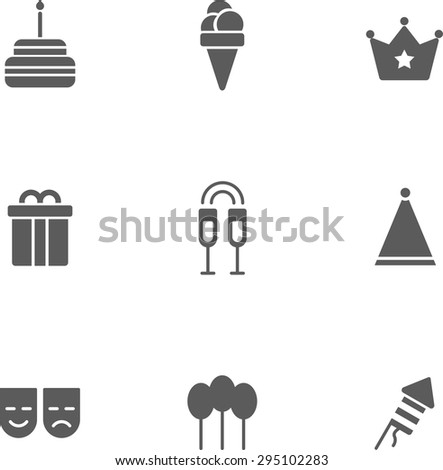 set of flat  design monochrome icons of birthday topic. There are 9 icons including cake, ice-cream, crown, gift box,glass with champagne,party hat, mask,balloon,firework - stock vector