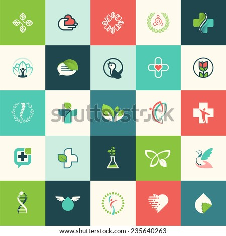 Set of flat design nature and beauty icons for websites, print and promotional materials, web and mobile services and apps icons, for medicine, healthcare, cosmetics, wellness, natural products        - stock vector