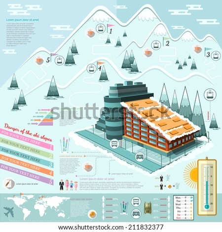 set of flat design ski resort infographics with hotel transportation and roots - stock vector