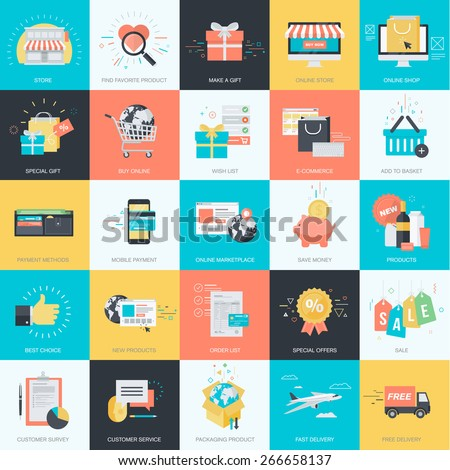 Set of flat design style concept icons for graphic and web design. Icons for e-commerce, m-commerce, online shopping. - stock vector