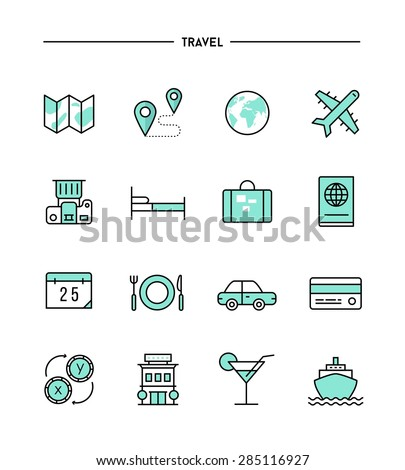 set of flat design, thin line travel icons, vector illustration - stock vector
