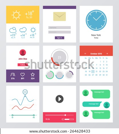 Set of flat design UI and UX elements for website and mobile app design. Mobile widgets collection. Weather, multimedia, player, message, calendar, clock interfaces. - stock vector