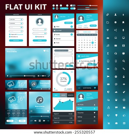 Set of flat design UI elements for website and mobile applications - stock vector