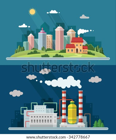 Set of flat design. Urban landscape illustrations including downtown, suburb and industrial landscapes - stock vector