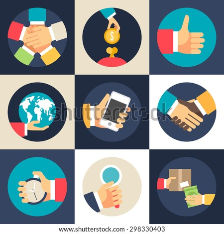 Set of Flat Design Vector Business Icons. Teamwork, Investment, Global Economics, Partnership, Time Management - stock vector