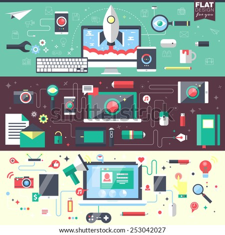 Set of flat design vector illustration concepts for business, management, strategy, digital marketing, finance, social network, education. Web banners and promotional materials. - stock vector