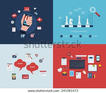 Set of flat design vector illustration concepts for business strategy, mobile marketing, business workflow, consulting services, time management, marketing research and strategy planning - stock vector