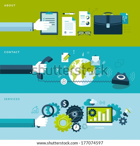 Set of flat design vector illustration concepts for services, contact and about categories. Concepts for web banners and printed materials.     - stock vector