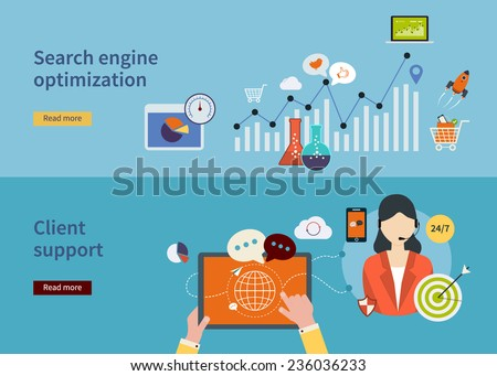 Set of flat design vector illustration concepts for strategy of search engine optimization, analytics search information, mobile marketing, market research and client support.  - stock vector