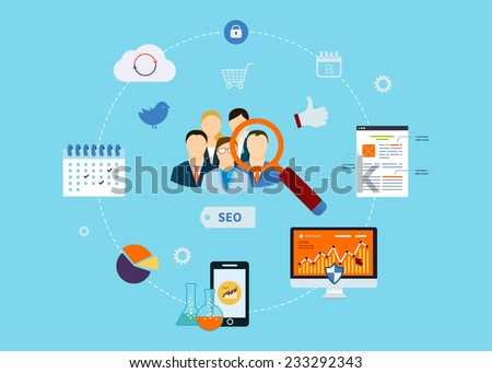 Set of flat design vector illustration concepts for website SEO optimization and web analytics elements. - stock vector