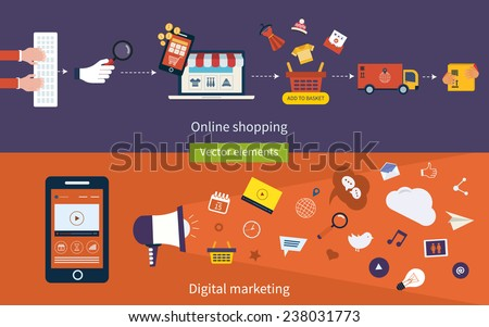 Set of flat design vector illustration concepts of online shopping, mobile marketing and digital marketing. - stock vector