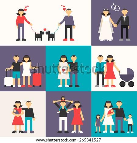 Set of Flat Design Vector Illustrations. Happy Family. Friendship, Wedding, Honeymoon, Pregnancy, Birth of a child - stock vector