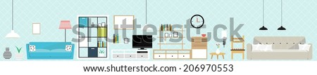 Set of flat elements for interior design. Concept design illustration of interior decoration. - stock vector