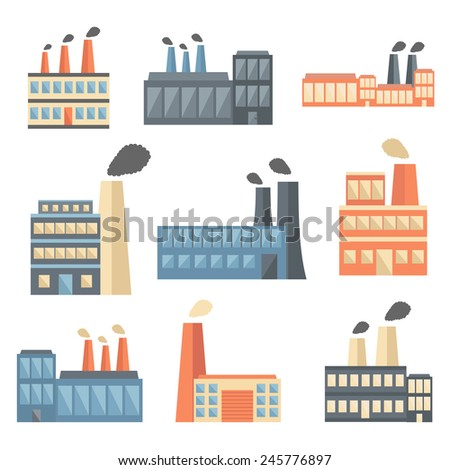 Set of flat factory icons for your design - stock vector
