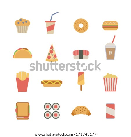 set of flat fast food icons - stock vector