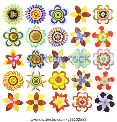 Set of flat flower icons made of paper, isolated on white. Cute retro design in bright colors for floral compositions and patterns. Collection of 25 items. - stock vector