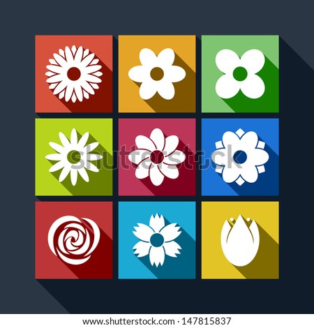 Set of flat flower icons with long shadow - stock vector