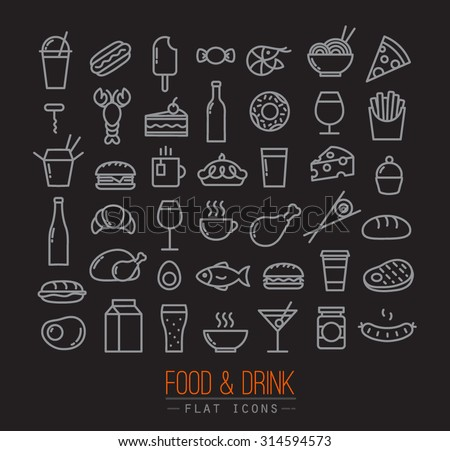 Set of flat food icons drawing with grey lines on black background - stock vector
