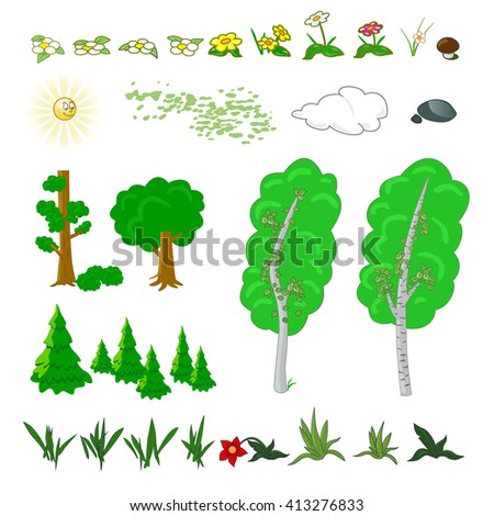 Set of flat forest elements. Include grass, flowers, mushrooms, berries, bushes, trees and sun. Vector illustration - stock vector
