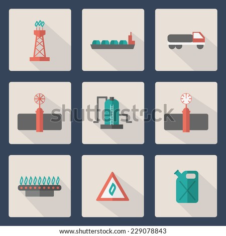 Set of flat gas production icons - stock vector